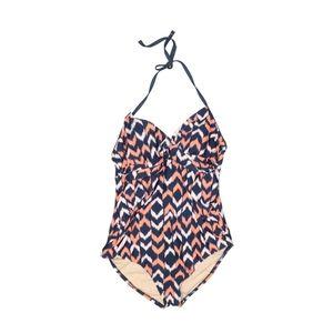 LIZ LANGE Maternity Pink Blue Monokini Swimsuit